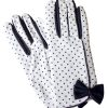Dents White Vintage Navy Polka Dot Dress Gloves